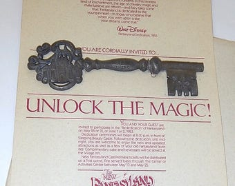 1983 Disneyland New Fantasyland Cast Premiere Invitation with Pewter Key to the Castle