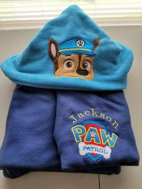 Personalized cop pup hooded blanket custom