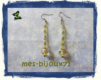 Long earrings - glass beads - olive green and light pink