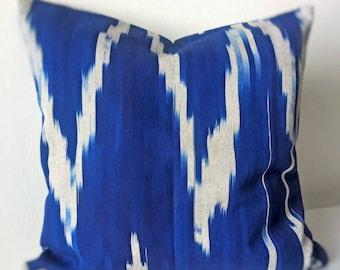 Cobalt Blue Ikat pillow cover Decorative pillow Accent pillow Ikat fabric Central Asian Tajik Ikat