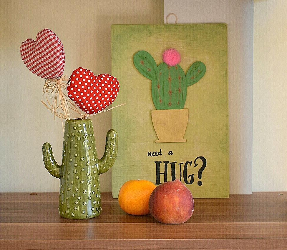Need a HUG? Rustic cactus wall hanging, wooden cactus wall sign ...