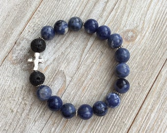 Essential Oil Diffuser Bracelet, Aromatherapy Bracelet, Sodalite, Lava Diffuser, Includes 1ml EO Sample Blend, Ships FREE in US