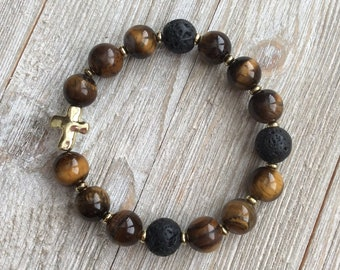 Essential Oil Diffuser Bracelet, Aromatherapy Bracelet, Tiger Eye, Lava Diffuser, Includes 1ml EO Sample Blend, Ships FREE in US
