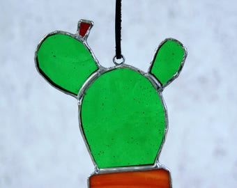 Opuntia Cactus Stained Glass Suncatcher