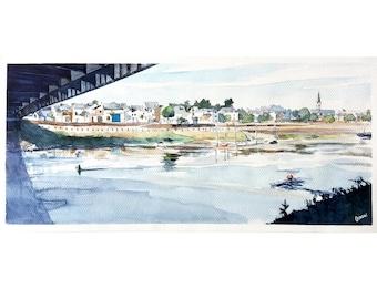 Original watercolor landscape of Loire River, Chalonnes-sur-Loire, Panorama village, bridge, river landscape, Village of France