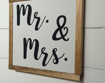 Mr. & Mrs. Wedding Rustic Farmhouse Wood Sign