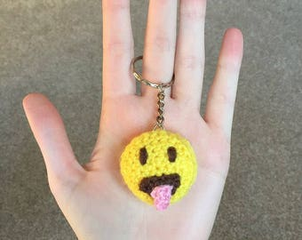 Handmade Crochet Tongue Out Emoji Knitted Keyring