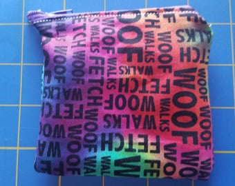 Rainbow dog words mini bag zippered