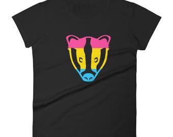 Pansexual Pride Badger Women's short sleeve t-shirt lgbt lgbtqipa lgbtq mogai pride flag bi pride