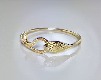 14k/10k Solid Gold Snake Ring - Baby Snake Ring - Gold Ouroboros Snake Ring - Gold Pinky Ring - Delicate Gold Snake Ring - Gold Serpent Ring
