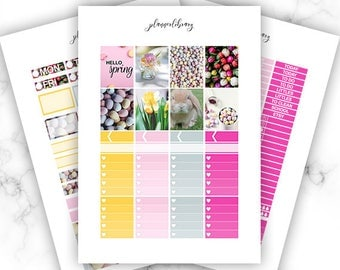 HELLO SPRING Weekly Kit // Printable Planner Stickers / Erin Condren Plum Paper Happy Planner Kikki K April Easter Spring March Pink Yellow