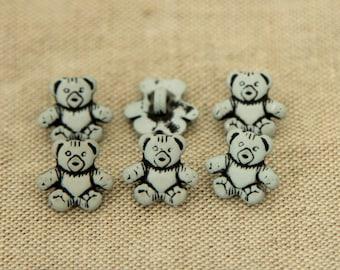 Button fancy pattern bear Blue 1.5 cm ref 486