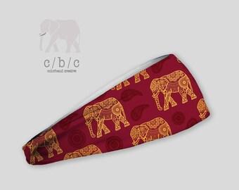 Elephant Headband, Yoga Headband, Fitness Headband, Running Headband, Indie Headband, Custom Headband, Girls Headband, Printed Headband