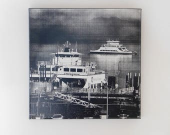 Steilacoom Ferry B/W on Canvas + FREE Easel + FREE Candle + FREE Shipping!