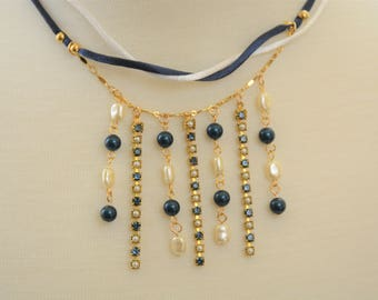 Navy & Pearl Cup Chain Necklace