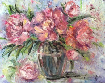 Pink Peonies Painting Original Oil  Floral Painting 11 x 14""