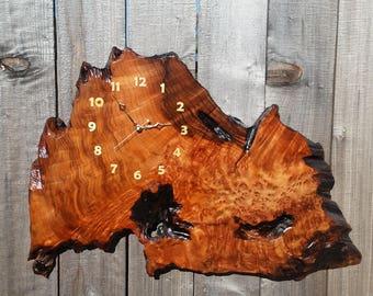 Redwood Burl Clock Handmade Wall Hanging Rustic Slab Anniversary Gift #11