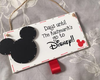 Personalised Days until Disney countdown. Handmade wooden sign plaque with Mickey Mouse head. Comes ready with chalk and personalized
