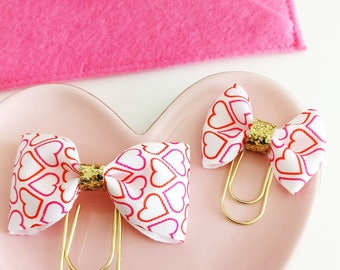 Valentine's Hearts Bow Planner Clips
