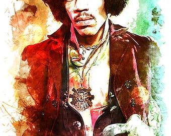 jimi hendrix art / jimi hendrix poster / watercolor painting / jimi hendrix artwork /  canvas art / wall decor - Jimi Hendrix Art Print