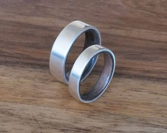 Silver ring with ebony wood ring