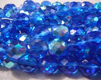 Faceted beads - set of 5 faceted beads - Sapphire - BOHEMIAN