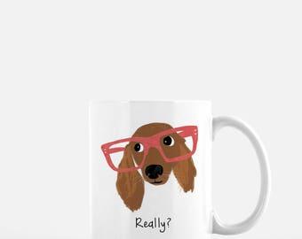 Personalized Dachshund Mug, Long Haired Dachshund Mug, Dachshund with Glasses Mug, Dachshund with Glasses, Dachshund Coffee Mug, Wiener Dog
