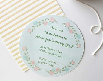 Floral baby shower invite
