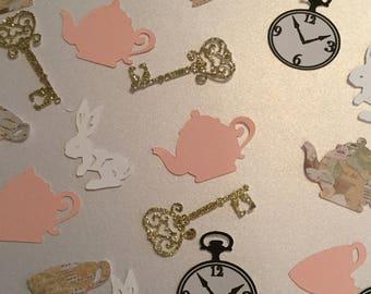 Alice in wonderland confetti, tea time confetti, tea time tea party theme