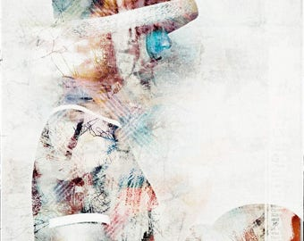 Portrait, Girl with Hat, photography, artwork, contemporary art, Mixedmedia, abstract, colourful, mural, romance, digital art