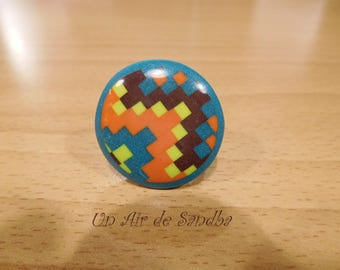 "Ring adjustable ""pixel art"", polymer clay."