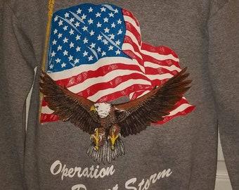 1991 OPERATION DESERT STORM Sweatshirt Flag and Eagle Adult Small