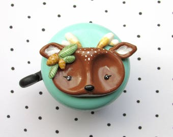 Bike Bell - Woodland Deer - 55mm - polymer clay - handmade