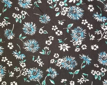 Shason Blue and White Poly Cotton Blend Floral Fabric