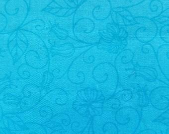 Pre Cut Fat Quarter Tonal Vine Turquoise Cotton Fabric
