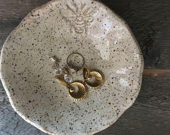 Small Pottery HandBuilt Bee Bowl
