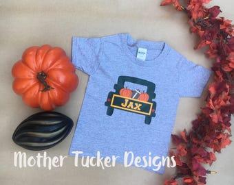 Fall Truck Boys Shirt - Halloween Truck Boys Shirt - Thanksgiving Truck Shirt - Football Truck Shirt