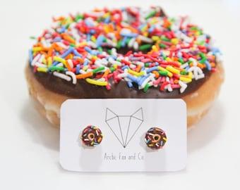 Chocolate Donut Stud Earrings - Handmade Polymer Clay