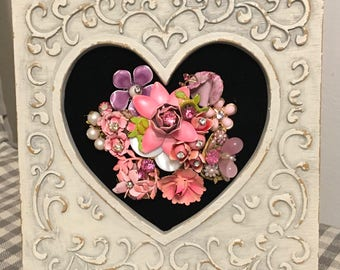 Vintage Jewelry Framed Floral Art Collage Picture