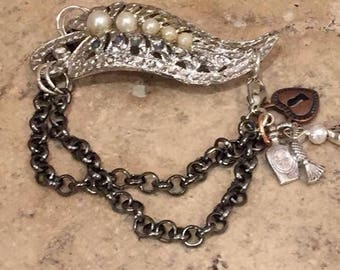Vintage Broach Made In To Bracelet