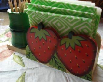 Wooden Napkin Holder Souvenir/Strawberry Toothpicks Holder/Table Decor Accessories/ Serviette Holder/ Kitchen Accessory/ 1990s