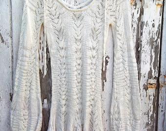Vintage 60s 70s Bell Sleeve Mesh Crochet Knitted Hippy Mod Mini Dress Cream / Off White White S