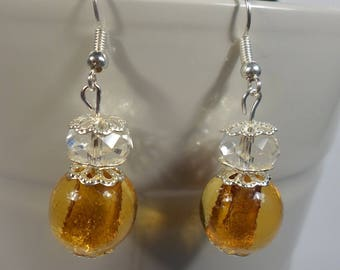 Yellow and clear bead earrings