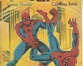 The Amazing Spider-Man in Seeing Double 1976 Marvel Comics Coloring Book Half Used