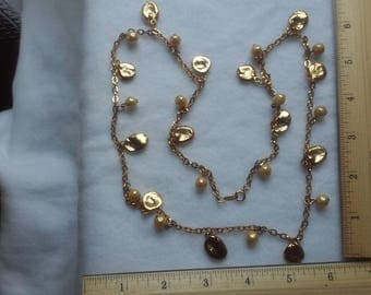 vintage Napier gold & cream pearl necklace