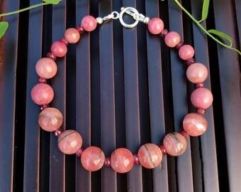 Ruby/Rhodochrosite/Haitian Flower Rhodonite/Sterling Silver Bracelet. Healing Natural Gemstone Beaded Bracelet.