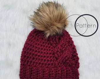 Big Cable Beanie Crochet Pattern/ Cabled Crochet Fitted Hat/ Intermediate Crochet Pattern/ Quick Crochet Pattern/ The Simply Loverly Beanie