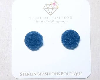 Medium - Dark Steel Blue Druzy