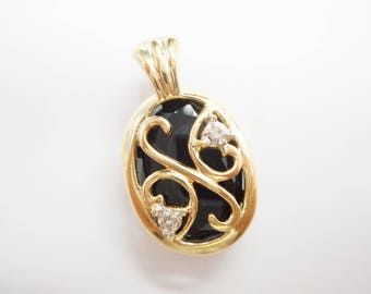 Black Onyx Pendant, Gold Pendant, Vintage Pendant, Filigree Pendant, 10k Yellow Gold Black Onyx Diamond Accent Filigree Pendant #3342