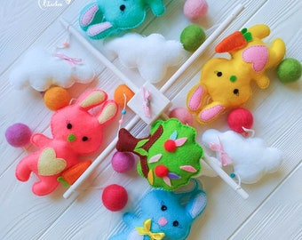 Baby mobile for Girl Baby MobileBaby mobile for boy Bunny mobile Clouds mobile Felt mobile Nursery mobile Woodland mobile Forest animals